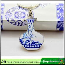 Porte-clés promotionnel bleu et blanc en porcelaine