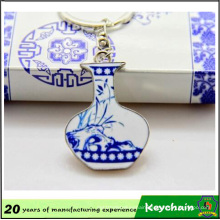 Promotional Blue & White Porcelain Metal Keychain