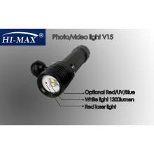 HI-MAX V15 con 2pcs Cree U2 luz blanca del ángulo de la viga de 110 grados y 2pcs Cree N4 luz roja / azul y 1pc mini luz roja del laser