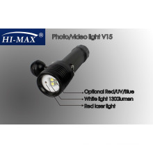 HI-MAX V15 with 2pcs Cree U2 110 degree beam angle white light and 2pcs Cree N4 red/blue light small colored led battery light