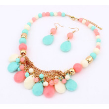 fashion factory outlet Europe new plastic beads acrylic rain drop beads handmade woman necklace sets bead drop earring wholesale