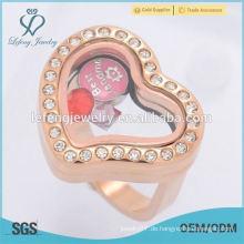 Neue Modell Roségold Schmuck Kristall Herz Glas schwimmenden Charme locket Finger Ringe
