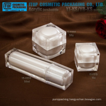 Good quality special recommended thick double wall luxury cosmetic packaging square cube acrylic bottle and jar