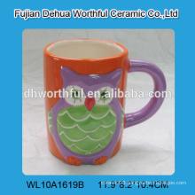 Decorative ceramic tea mug,ceramic coffee mug with owl design