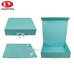 Folding paper box gift box with ribbon