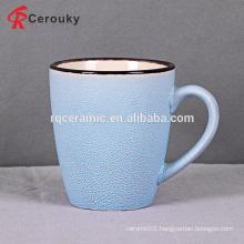 Custom design blue ceramic coffee mug