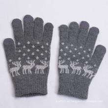 2015 guantes calientes de la pantalla táctil de la lana del Jacquard de la venta