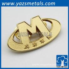 Custom alphabet military badges gold plate