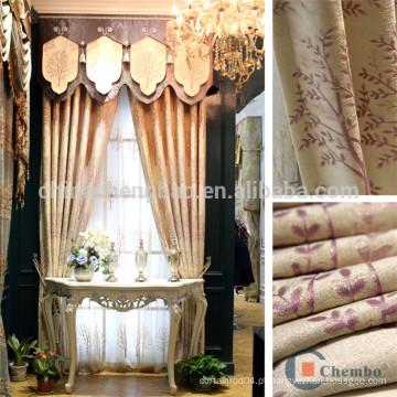 Tecidos de cortina de jacquard por atacado de chenile para a janela da casa de campo