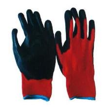 Luva vermelha do trabalho do plutônio do forro preto do poliéster 13G (5537R)