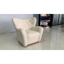 European Style Luxury Living Room One Seater Sofa Chair Teddy Fabric Accent Chair Modern