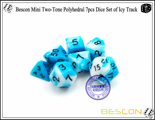 Bescon Mini Two-Tone Polyhedral 7pcs Dice Set of Icy Track-5