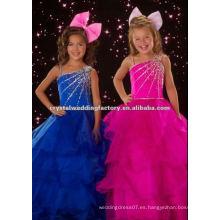 2012 un hombro encantador rebordeó el azul y la muchacha de flor del desfile del fuschia viste CWFaf4203