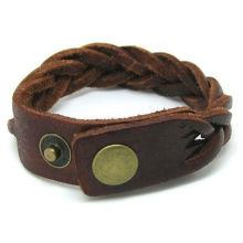 Brown Leather Bracelet Cross Weave Bracelet Adjustable KSKS-40