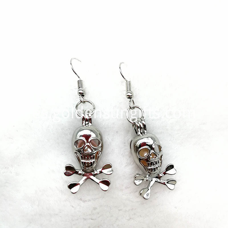 Silver Skull Locket Earrings