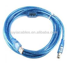 Alta Qualidade Transparente Azul USB CABLE 2.0 AM TO BM USB PRINTER CABLE 5m