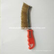 Color rojo de latón de alambre revestido de plástico mango cuchillo de cepillo (YY-390)