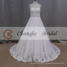 -Линии милая Длина пола свадебное платье с клеш поясом