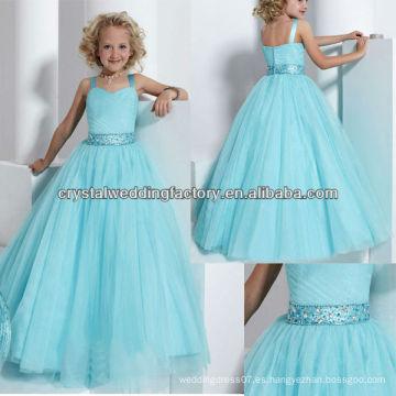2013 nuevo reborde acanalado rebordeado del desfile de la muchacha de flor del cielo azul de la falda del vestido de bola CWFaf5258