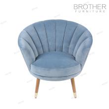 Lujosas sillas modernas de comedor de tela con respaldo alto y respaldo de ala