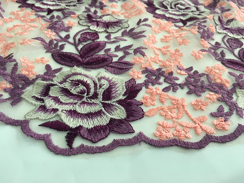 Rose Blossom Design Embroidery Fabric