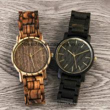 Reloj de pulsera de madera Zebrawood Unique Unique Movt Quartz para hombre