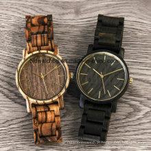 Único Japão Movt Quartz Zebrawood relógio de madeira para homem