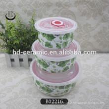3pcs cerâmica tigela conjunto selo tigela fresca conjunto