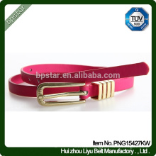 Lady Genuine leather Fashion Skinny belt Metal Buckle Pink Waistband For Party Girls Dress