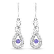 Синий камень Dacing Diamond Jewelry 925 Silver Dangle Earring Wholesale