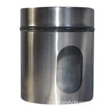 Storage bottles which contains tea, coffee, sugar, pasta