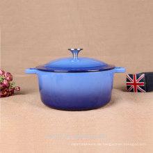 Gusseisen Enamel Dutch Oven Casserole Cooking Dish, Blau