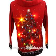 PK14A8054 suéter feio de natal com luz