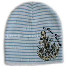 Embroidery Acrylic Striped Knitted Sport Ski Beanie (TRK14009)