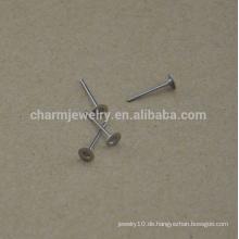 BXG030 Edelstahl 4mm flacher Auflage-Ohrring, der plus Nickel-freie Ohrringentdeckungen für das Schmucksachen findet