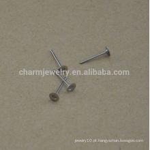 BXG030 Aço Inoxidável 4mm Flat Pad Brinco Encontrando mais níquel Free brinco descobertas para Jóias-Fazendo