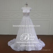 Factory Wholesaler Alibaba Muslim Fancy Bridal A-Line Wedding Dress with Cap Sleeve
