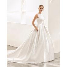 Flores decote v vestido de noiva vestido de baile de volta