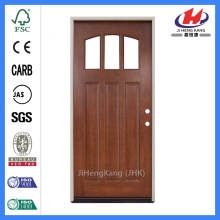 Jhk-G32-3 Alder Wood 3 Panel 3 Lite  Clear Glass Solid Wood Door