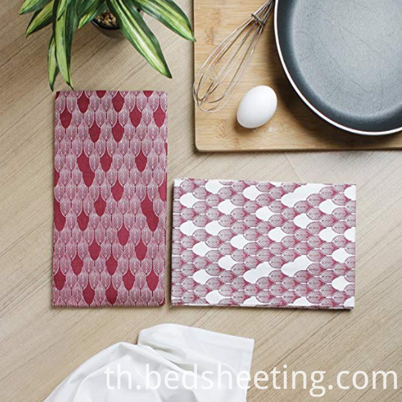 Cotton Dish Towels Print Red Leaves