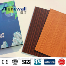 Alunewall Most Popular products Wooden Grain Texture A2/B1 grade fireproof Aluminium Composite Panel acp sheets factory price
