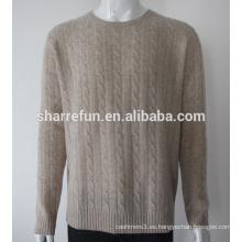 venta al por mayor 7gg cable hecho punto hombres puros suéteres de cachemira