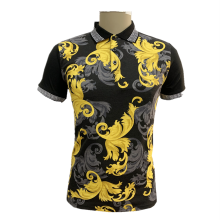 Men's knit print polo shirt