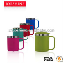 outer plastic inner stainless steel double wall coffee mug with lid and handle
