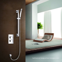 Dos manijas de alta calidad ocultan válvula termostática tobogán kit kit de ducha con teléfono ducha mano