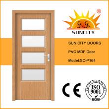 Porta sólida interior luxuosa do PVC do MDF com projeto de vidro (SC-P164)