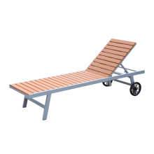 Outdoor aluminum chair plastic wood  sun lounger with wheels beach chaise lounge