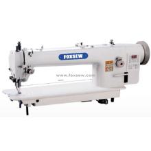 Máquina de costura de alimentação superior e inferior de acionamento direto do braço longo com aparador automático
