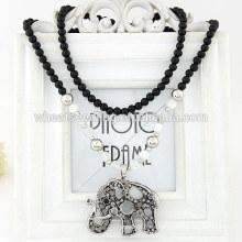 Collar pendiente largo pendiente del elefante del diamante de los granos negros