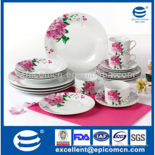round tableware porcelain with serving dishes for 4/6 person with big rose